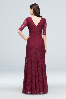 V-Neck Ruched Lace Mermaid Gown with 3/4 Sleeves Nightway 21719