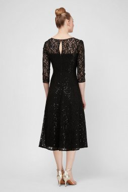 Tea-Length Sequin Lace 3/4 Sleeve Cocktail Dress SL Fashions 9119133