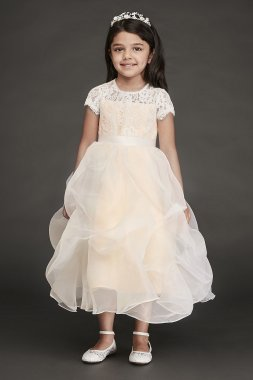 Lace and Organza Pick-Up Flower Girl Dress RK1380