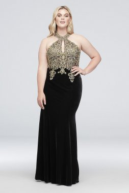 Round Neck Metallic Lace and Jersey Plus Size Gown XS10096W