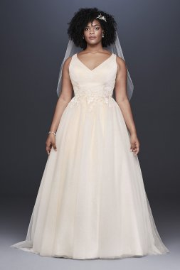 Appliqued Glitter Tulle Plus Size Wedding Dress Collection 9WG3930