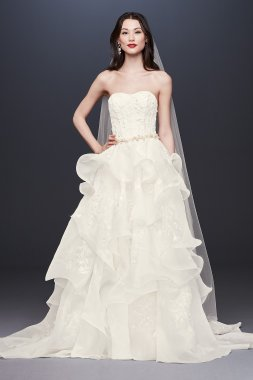 Floral Applique Wedding Dress with Tiered Skirt CWG822
