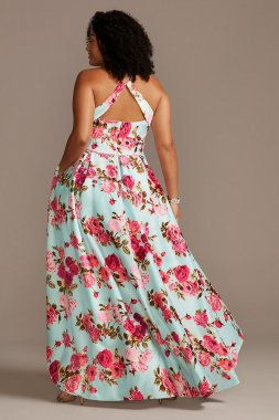 Floral Plus Size High Low Dress with Open Back Blondie Nites 2128BNW