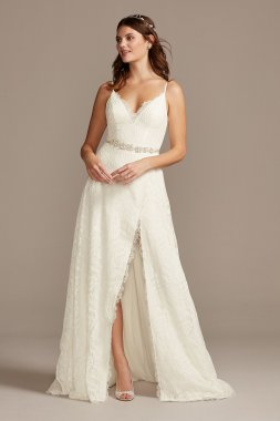 Leaf Pattern Lace Slit Skirt A-Line Wedding Dress MS251220
