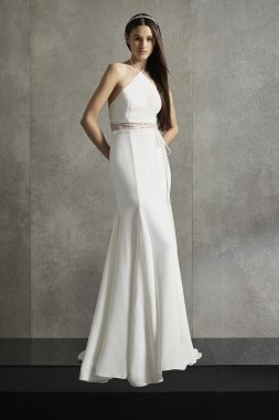 Illusion Waist Halter Wedding Dress Style VW351578