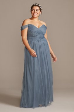 Off-the-Shoulder Pleated Soft Net F20116 Bridesmaid Dress