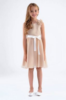 Crinkle New Style 107UA Chiffon Girls Dress with Removable Flower