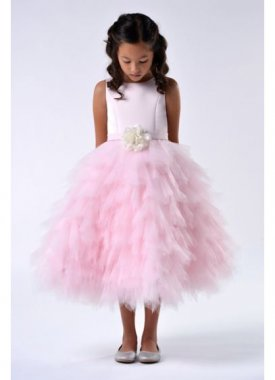Satin and Tulle Tea-Length Flower Girl Dress 110UA2