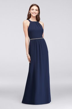 Pleated Round-Neck Chiffon 111087DB Style Gown with Beaded Waist
