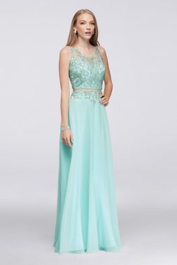 Beaded Faux Two Pieces 1111112 Stye Chiffon Prom Dress