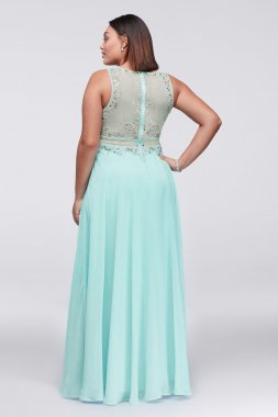 New Fashion Faux Two Pieces Long 1111112W Plus Size Prom Gown
