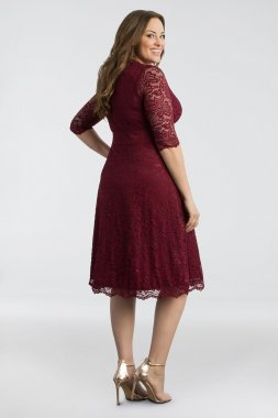 3/4 Sleeved Soft A-Line Lace Plus Size Dress 12150901DB
