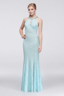 Beaded Keyhole Halter Neck Long All Over Lace Prom Dress Style 12152