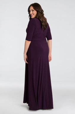 Shimmering Ruched Jersey Faux-Wrap Plus Size Gown 12182203
