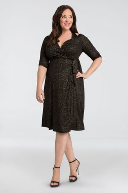 Evaline Glitter Jersey Plus Size Wrap Dress 12182204