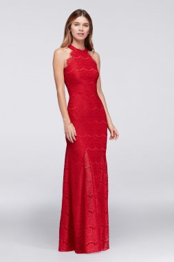 Sleeveless Halter Neck Allover Lace Long Sheath 12316 Style Party Gown