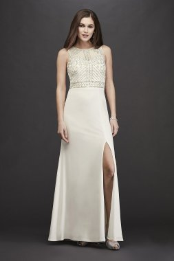 Jersey Sheath High-Neck Wedding Dress with Beading 12332D