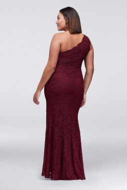 Plus Size New Coming Elegant One Shoulder Side Slit Lace Prom Gown Style 12341W