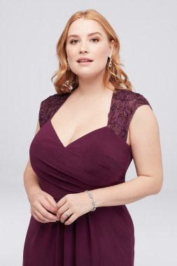 Piped Plus Size Jersey Dress with Illusion Back 1407XW