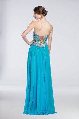 Strapless A-Line Dress with Beaded Illusion Mesh 151P0037G