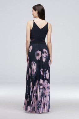 Pleated and Printed Jersey Maxi Dress 1560X