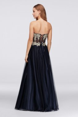 Sexy Strapless Illusion Bodice A-line 156227 Pattern Prom Ball Gown