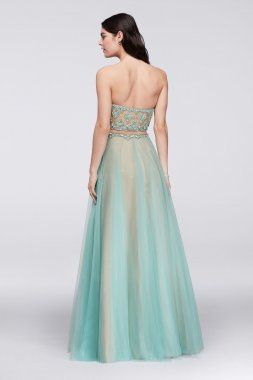 Strapless Sweetheart Neckline A-line Gem-Encrusted Tulle Faux Two-Piece 1611P1014G Style Prom Dress