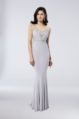 New Beads Embellished Long Fitted Jersey Party Gown Style 1711M3381 with Illusion Neckline