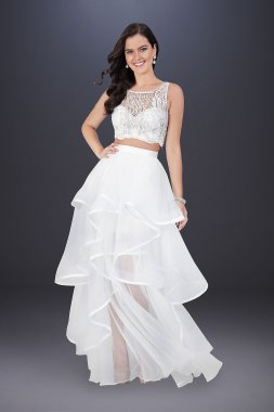 Two-Piece Wedding Dress with Embroidered Top 1711P2732