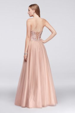 New Style Glamour 1711P2845 Pattern Embellished A-line Tulle Ball Gown with Basque Waist