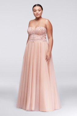 Plus Size Long Strapless 1711P2845W A-line Tulle Prom Gown with Basque Waist