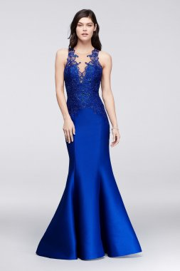 1712P2471 Style Modern Long Lace Embroidered Mikado Mermaid Prom Gown with Illusion Neckline