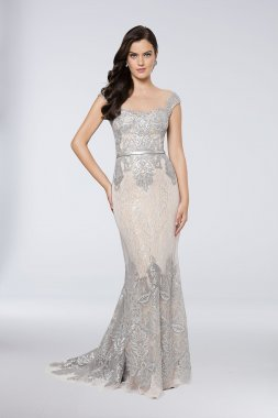 Elegant New Sequined Tulle-Over-Lace Sheath Gown Style 1713M3505 with Cap Sleeves