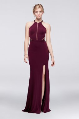 Sexy Illusion Cutouts Embellished Long Floor Length Jersey 1715P3827 Style Prom Gown