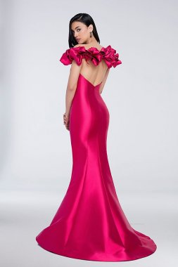 Ruffled Cap-Sleeve Satin Mermaid Gown with Slit 1721E4128