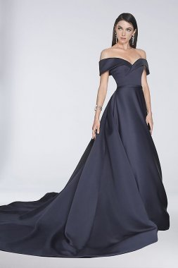 Off-the-Shoulder Satin Ball Gown with Train 1812E6276