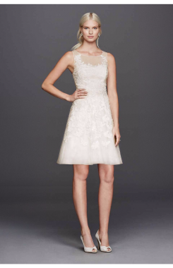 Charming 182948DB Style Short Lace Appliqued Tulle Dress