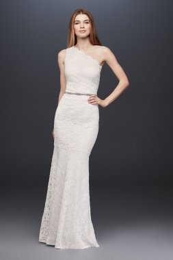 Elegant One-shoulder Gliter Lace Sheath Bridal Dress Style 183668DB