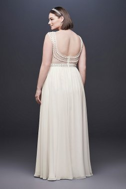 Beaded Plus Size Wedding Dress with Illusion Mesh 184645DBW