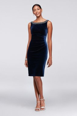 Unique Short Cowl Back Velvet Sheath Dress Style 191730