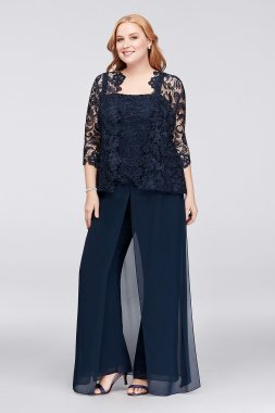 New Emma Street 1930001DB Style Three Pieces Plus Size Lace and Chiffon Pant Suit