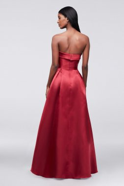 Modern Strapless High Low 205X Style Satin Ball Gown