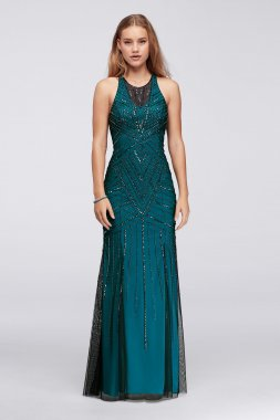 New Shinning Allover Deco Beading Embellished Long Trumpt 206D Tulle Prom Dress