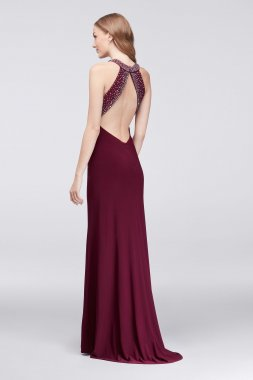 Crystal Embellished Long Halter Neck Sexy 21387 Jersey Dresses