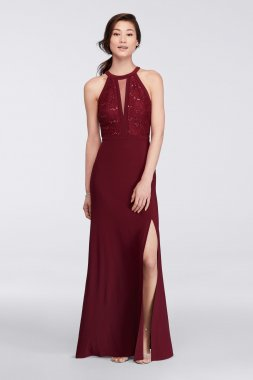 Long Halter Neck Side Slit Dress Style 21434