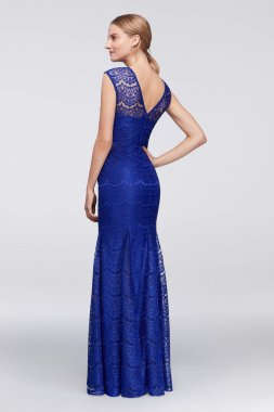 New Coming 21527 Style Royal Long Lace Mermaid Dress with Godet Skirt