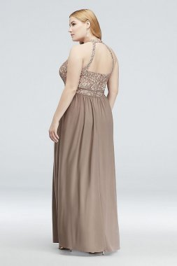 Round-Neck Lace and Jersey Halter Plus Size Gown 21606W