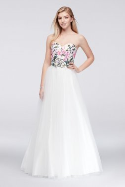 Beautiful Long A-line Strapless Sweetheart Neckline Sean Collections 233 Prom Dress with Embroidered Bodice