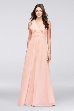 New Coming Elegant Long A-line 263613 Style Bridesmaid Dress with Flutter Sleeves and Open Back