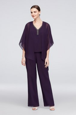 New Style 26633 Flowy Georgette Pantsuit with Asymmetrical Jacket Le Bos